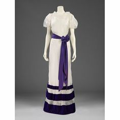 Summer evening dress - The Parachute Collection; by Elsa Schiaparelli, 1936. Organdie and velvet with satin sash