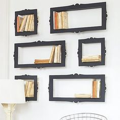 use the space between the wall studs to create shelves. then frame them!