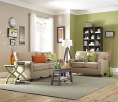 green and cream living room