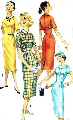 1950s Sheath Dress Pattern Simplicity 1799 Empire by paneenjerez, $20.00