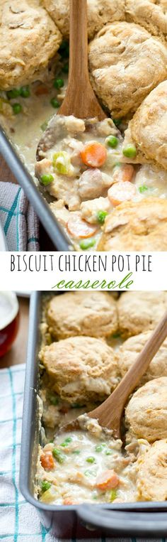 Biscuit Chicken Pot Pie Casserole ~  Enjoy a heartwarming homemade chicken pot pie without all the hassle with this easy, comforting casserole that's on the dinner table in less than 45 minutes!