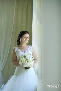 Real wedding in Finland. Dress made by Pukuni (www.pukuni.fi). Wedding dress, open back, tulle bridal gown.