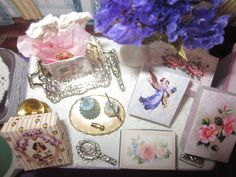 Nov. 30, 2014 - An overhead shot of the table and its items.  A small brass jug holds the gift box (left side) upright.