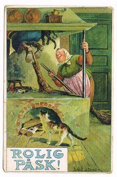Annons på Tradera: Påskkärringar som åker ut genom skorsten till blåkulla 1913