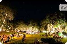 Great lighting for an outdoor evening wedding