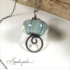 Lampwork glass bead and sterling silver pendant necklace. Handmade lampwork bead, sterling silver chain, Artisan, SRA