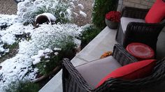 First Snow - Porch view Oct 2015 My House, Porch, Backyard, Snow, Japanese, Projects, Design, Terrace, Log Projects