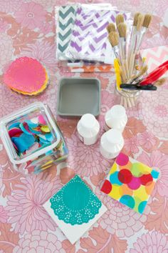 Decoupage tile party coasters @Etsy #CraftPartyLeam 2014 photo Courtesy of Fiona Murray.