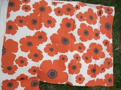 Poppy Fabric Upholstery Weight Orange Black by VintageSqualor, $7.00