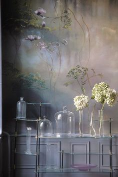 Claire Basler// wall mural How beautiful! South Shore Decorating, Wall Finishes, Wall Treatments, Of Wallpaper, Interior Inspiration, Wall Murals, Wall Art, Interior And Exterior, Interior Decorating