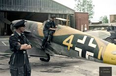 Messerschmitt Bf 109 F-4 'Yellow 4' of 9./JG 3 'Udet' flown by Ofw. Eberhard von Boremski . Photographed early May 1942 at Chuguyiv airfield or possibly still during the unit's refit in Wiesbaden-Erbenheim, Germany, shortly before it was transferred back to the Eastern Front . Colorized photo