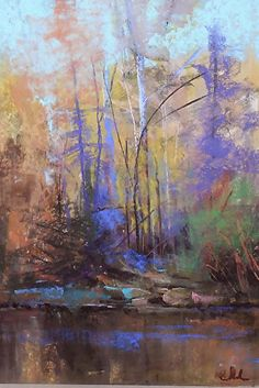 use of purple in shading. Woodland Song by Tom Christopher Pastel ~ 24 x 18 Pastel Landscape, Landscape Artwork, Watercolor Landscape, Watercolor Artists, Watercolor Painting, Soft Pastel Art, Pastel Artwork, Soft Pastels, Pastel Paintings