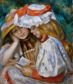 Pierre-Auguste Renoir (French Impressionist Painter, 1841-1919) Two Girls Reading