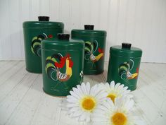 Retro Ransburg Rooster ToleWare Round Metal Nesting Canisters Set - Vintage Matching Hand Painted on Green Enamel Cans & Lids Kitchen Decor $49.00 by DivineOrders