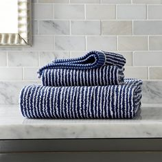 Marimekko Ilta Blue Bath Towels | Crate and Barrel