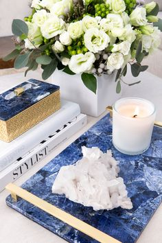 Made of semiprecious blue sodalite and accented with bright brass, this stone tray looks outstanding on an ottoman, sideboard, coffee or side table or use as an elegant accent to your master vanity or bath.