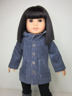 American girl doll clothes-  Gray  cord oxford coat for Fall. on Etsy, $17.97