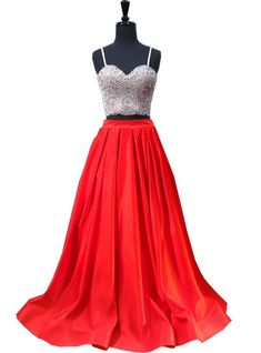 A-line Sweetheart Spaghetti Strap Satin Red Two Piece Prom Dress Prom Dresses Under 100, Senior Prom Dresses, Prom Dresses With Pockets, Straps Prom Dresses, Sexy Dresses, Beautiful Dresses, Red Two Piece, Sweetheart Dress, Dress Silhouette