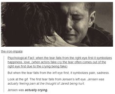 He did an interview and said he didn't have to picture anyone else in this scene because Jared meant so much to him and after the scene was over he just sat there crying and holding Jared.