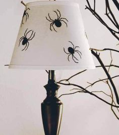 Turn a lamp into a creepy spider lamp this Halloween!