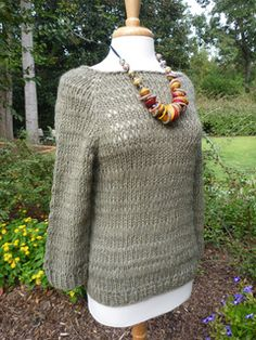 Vince - top-down, drop stitch, raglan sweater by Susan Barstein available on Ravelry
