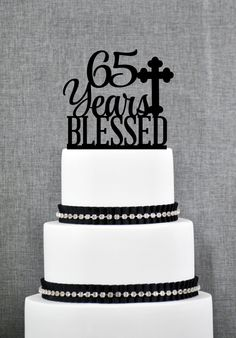 New to ChicagoFactory on Etsy: 65 Years Blessed Cake Topper Classy 65th Birthday Cake Topper 65th Anniversary Cake Topper- (S247) (15.00 USD)