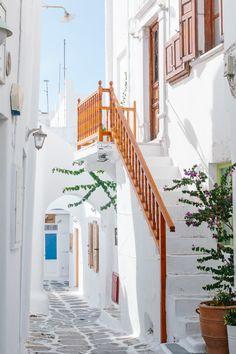 Cobblestone streets of Mykonos   Greece                                                                                                                                                                                 More