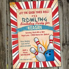 Let the good times roll with this Vintage Retro Printable Bowling Birthday Party Invitation in red, reds and blues on a tan background. This fun