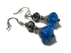 Gunmetal and Faceted Blue Beaded Drop Dangle by SharkysWaters, $8.00