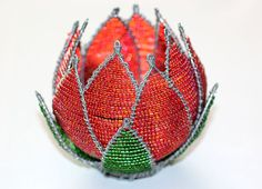 Items similar to Beaded protea flower candleholder on Etsy Bead Crafts, Diy And Crafts, African Christmas, Beaded Bouquet, Protea Flower, French Beaded Flowers, African Beads, Beads And Wire, Wire Art