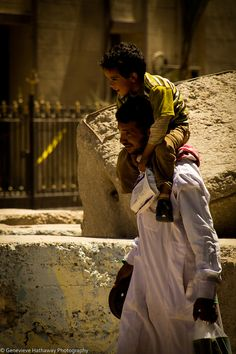 Father and son in Tahrir Square, Cairo