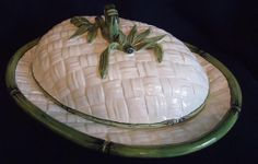 Oval Serving Bowl with Lid Bamboo Motif from by PeggysAntiques, $59.99