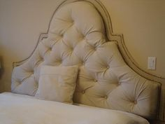 tufted headboard | Amber was inspired by the York Tufted Headboard from Pottery Barn .