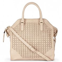 Women's Cream Vegan Leather Lasercut Tote | Iris by Sole Society