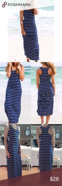 """Navy Striped Racerback Tank Dress Navy Blue and white stripes.  Racerback.  Super soft and comfy dress! Fabric is cotton blend and has some stretch.                                    Measurements:                                                       Medium: Bust: 32""""  Length: 52.5""""                           Large:     Bust: 34""""  Length: 54"""".                             #RB71090 Dresses Maxi"""