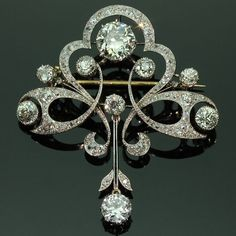 Antique diamond floral brooch by adinantiquejewellery on Etsy