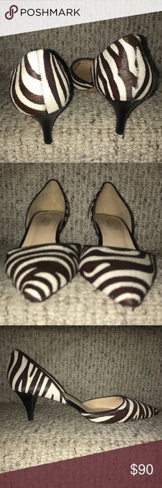 """NWOT💜TALBOTS💜Pony hair Leather Kitten Heel Pumps NWOT💜TALBOTS💜Pony hair Leather Kitten Heel Pumps. Size- 9.5; White / Brown. Heel height- 2"""". Cushioned footbed. Leather sole. Original cost $150 Talbots Shoes Heels"""