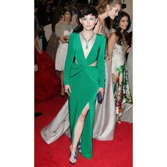 Ginnifer Goodwin Green Long Sleeve Sexy Prom Dress 2011 Met Ball Red Carpet