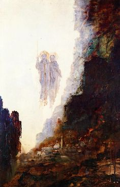 """Gustave Moreau: """"The Angels of Sodom"""",   circa 1890, oil on canvas, Musée Gustave Moreau  (France - Paris)."""
