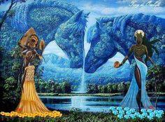 Oshun Y Yemaya, Oshun Goddess, Goddess Art, African Mythology, African Goddess, Egyptian Mythology, Black Love Art, Black Girl Art, African American Art