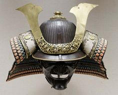 Japanese parade helmet, made from iron, gilded copper, lacquered leather, silk. (Public Domain)