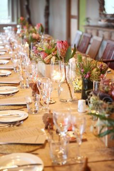 Wooden containers, glass, proteas and other fynbos textures Got Married, Getting Married, Wooden Containers, Wedding Decorations, Table Decorations, Wedding Table Settings, Floral Design, Wedding Day, Glass