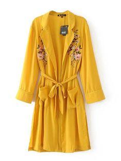 Elegant Embroidery Long Sleeves Pocket Kimonos For Women