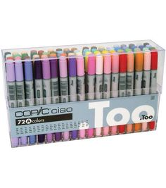 This outstanding performance has distinguished Copic markers as the celebrated coloring tool within professional, semi-professional and hobby circles alike. Copic Ciao Markers: 72 Color - Set A. Copic Ciao Markers: 72 Color - Set B. Copic Ciao Marker, Copic Markers, Copic Pens, School Supplies, Art Supplies, Starter Set, Sketch Markers, Marker Pen, Pen Sets