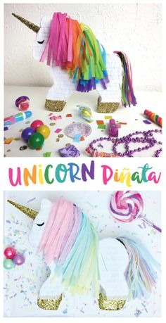 These beautiful piñatas can be ordered empty or full, in a variety of sizes, with custom colors, and are perfect for your unicorn party! (affiliate)