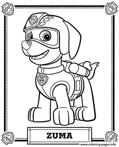 Print paw patrol zuma coloring pages