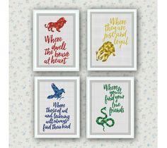 Set of 4 Quotes,Hogwarts Houses Cross Stitch Pattern,Harry Potter cross stitch,Gryffindor,Hufflepuff,Ravenclaw,Slytherin ,Logo, PDF Download by ElCrossStitch on Etsy