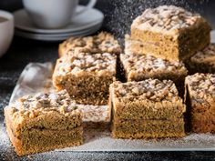 Buzzing with espresso and packed with two layers of crumbly whiskey streusel, this Irish coffee Coffee Cake is a delicacy you'll enjoy to the last crumb. Irish Coffee Cake, Coffee Coffee, Whisky, Espresso, Coffee Dessert, Irish Recipes, Cake Ingredients, Savoury Cake, Let Them Eat Cake