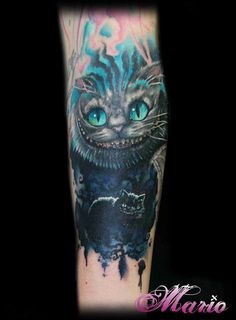 Cheshire Cat Tattoo by Mario Gregor. #perfecttattoo #tattooart #AliceInWonderland #cheshirecat
