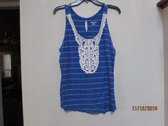 33a168d99e5d3 MERONA Women Size L Tank Top Blue Green Stripe Lace Front Keyhole Back  Summer sf